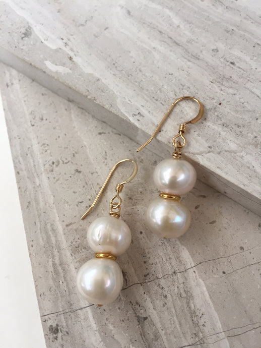 Double Pearl earrings, gold