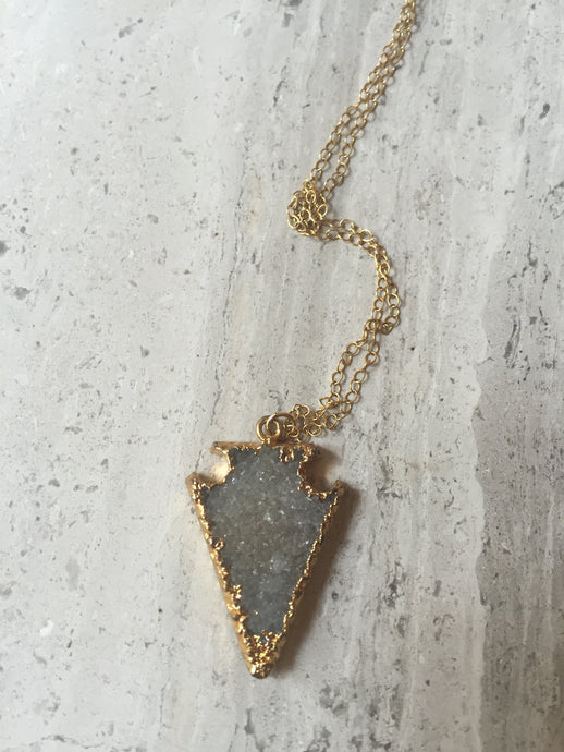 Druzy Arrowhead Necklace Gold