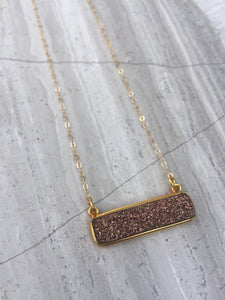 Druzy bar necklace, gold, dusty rose
