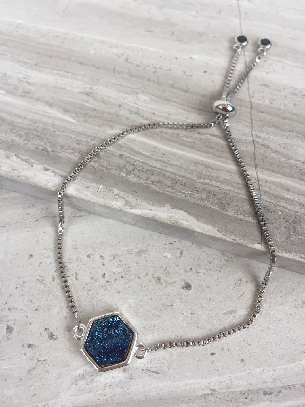 Druzy Adjustable Chain Bracelet, Blue Hexagon