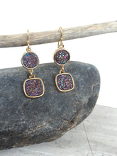 Druzy Square Dangle Earrings — Purple
