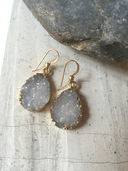 Druzy Drop Earrings, grey, gold