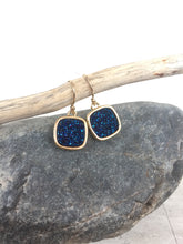 Druzy Square Earrings — Deep Blue