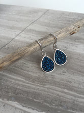Druzy Tear Drop Earrings — Blue, silver