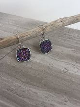 Druzy Square Earrings — Purple, silver