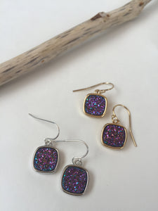 Druzy Square Earrings — Purple, gold and silver