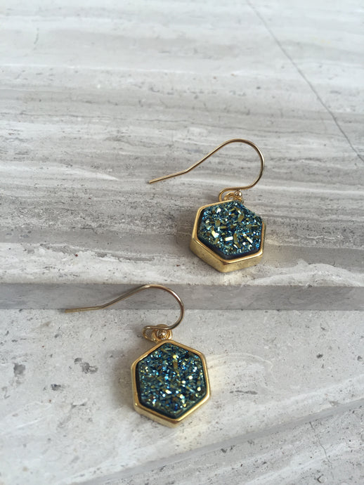 Druzy Hexagon Earrings— Green