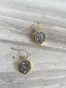 Druzy Hexagon Earrings— Silver