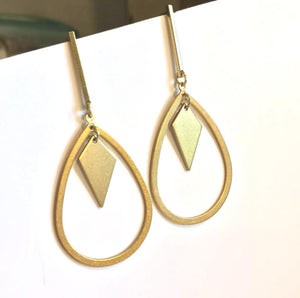 Long Geometric / Droplet Hoop — post Earrings