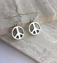 Silver Peace Sign Earrings