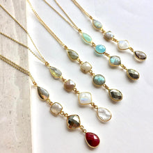 Gemstone row long necklace collection, JPeace Designs