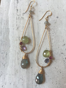 Gemstone Mix Earrings - Green Garnet, gold, labradorite