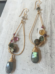 Gemstone Mix Earrings - Pyrite, labradorite, citrine, tourmaline, gold