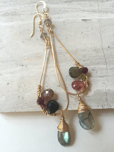 Gemstone Mix Earrings - Tourmaline, labradorite, gold, one of a kind