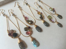 Gemstone Mix Earrings - Pyrite, labradorite, citrine, tourmaline, green garnet, gold