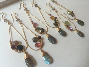 Gemstone Mix Earrings - Green Garnet, gold, labradorite, tourmaline