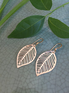 Gold, Leaf shape cut-out earrings