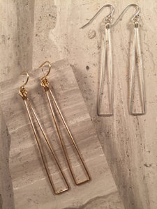 Long Triangle Earrings, gold wire, sterling silver wire