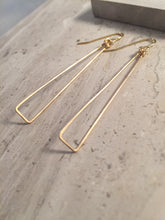 Long Triangle Earrings, gold wire