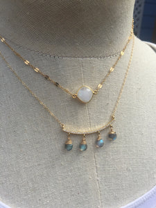 Moonstone and Razor chain Necklace gold and CZ bar with labradorite drops necklace gold