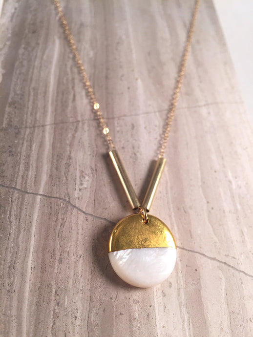 Gold Dip Mother of Pearl Necklace