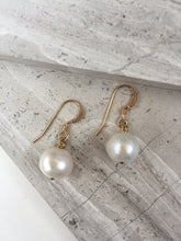 White Pearl Earrings, gold