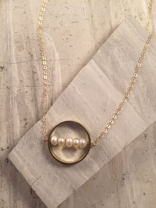 Pearl Within Ring Necklace