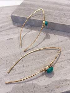 Threader Earrings — Turquoise