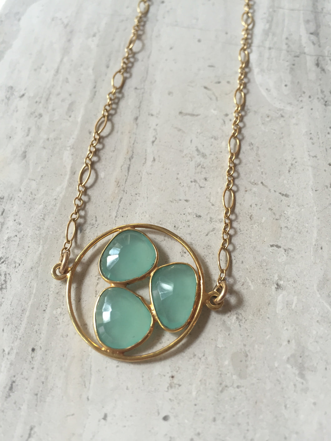 Aqua Chalcedony Trio Necklace gold