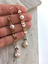 Two-tone Moonstone Earrings, in hand