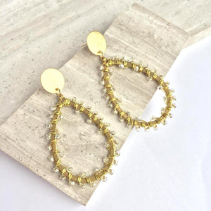 Wire Wrapped Beaded Hoops —Post Earrings