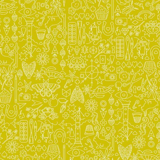 Collection in Chartreuse from Sun Print 2019 by Alison Glass for Andover Fabrics