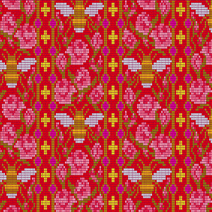 Beadwork in Scarlet from Handiwork by Alison Glass for Andover Fabrics