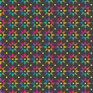 Rainbow Star in Charcoal from Art Theory by Alison Glass for Andover Fabrics
