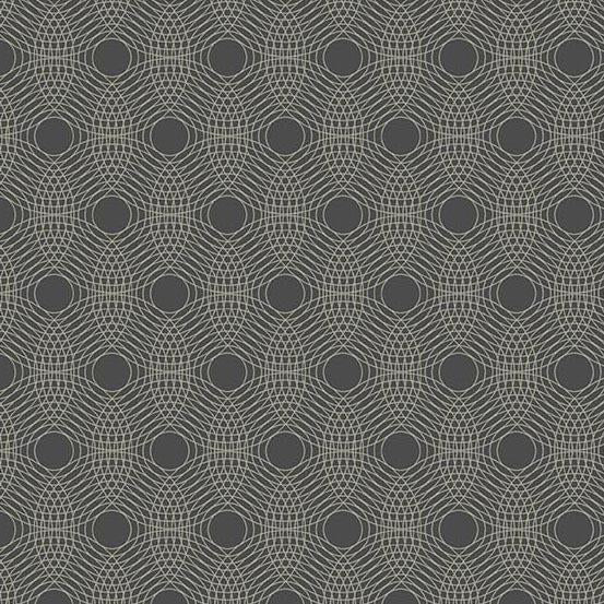 Ripples in Charcoal from Tattooed North by Libs Elliott for Andover Fabrics