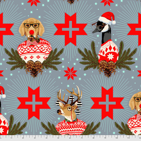 June 50% Deposit/Preorder- Flannel Buck Buck Goose in Blue Spruce from Holiday Homies Flannel by Tula Pink for Freespirit Fabrics