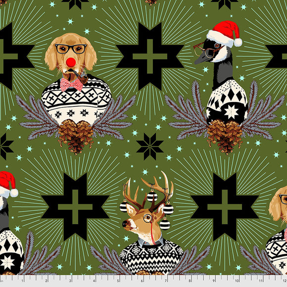 June 50% Deposit/Preorder- Flannel Buck Buck Goose in Pine Fresh from Holiday Homies Flannel by Tula Pink for Freespirit Fabrics