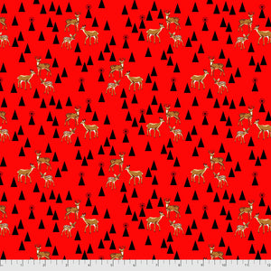 June 50% Deposit/Preorder- Flannel Road Trip in Holly Berry from Holiday Homies Flannel by Tula Pink for Freespirit Fabrics
