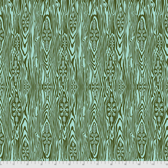 June 50% Deposit/Preorder- Flannel Yule Log in Pine Fresh from Holiday Homies Flannel by Tula Pink for Freespirit Fabrics