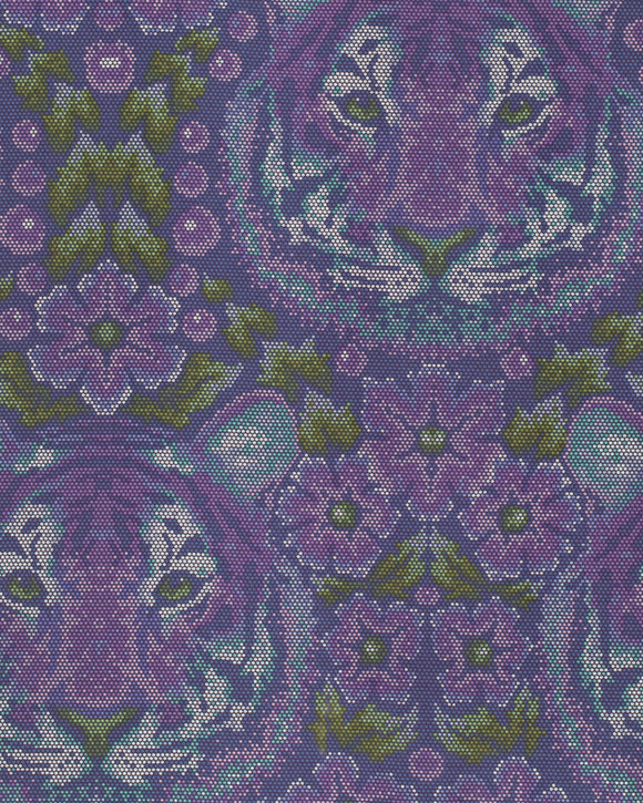 Crouching Tiger in Amethyst from Eden by Tula Pink for Freespirit Fabrics