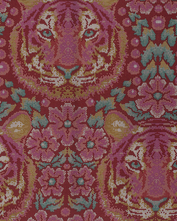 Crouching Tiger in Tourmaline from Eden by Tula Pink for Freespirit Fabrics