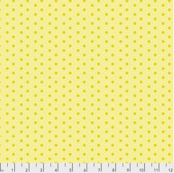 Hexy in Sunshine from True Colors by Tula Pink for Freespirit Fabrics