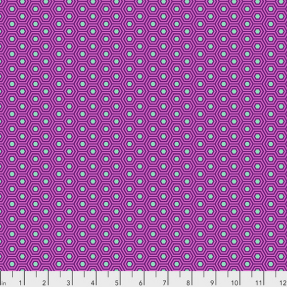 Hexy in Thistle from True Colors by Tula Pink for Freespirit Fabrics