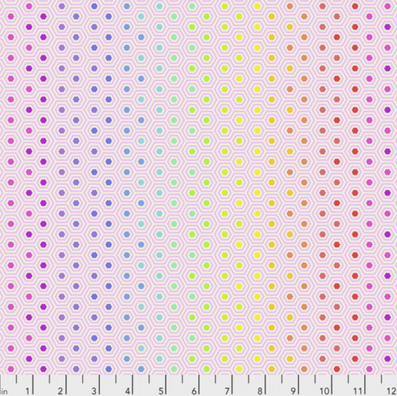 Hexy in Rainbow Shell from True Colors by Tula Pink for Freespirit Fabrics