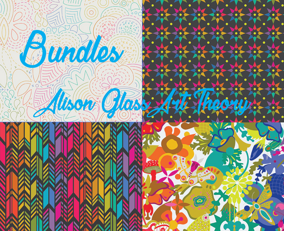 Fat Quarter, Half Yard, and Full Yard Bundles of Art Theory by Alison Glass for Andover Fabrics