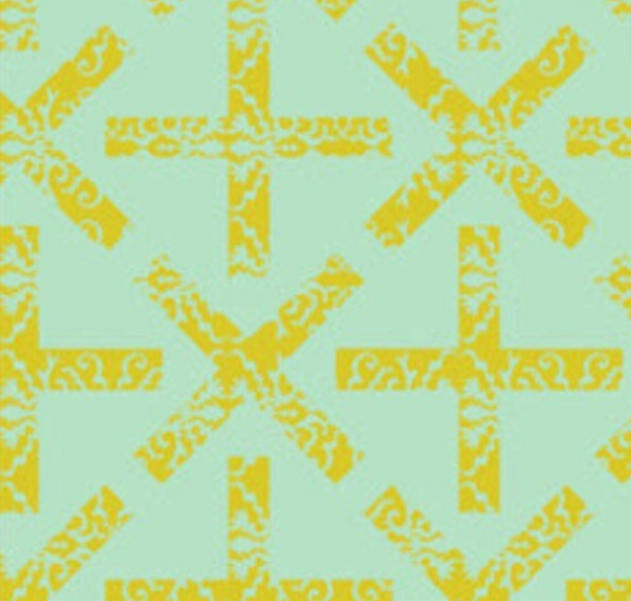 X and Plus in Green from Field Day by Alison Glass for Andover Fabrics