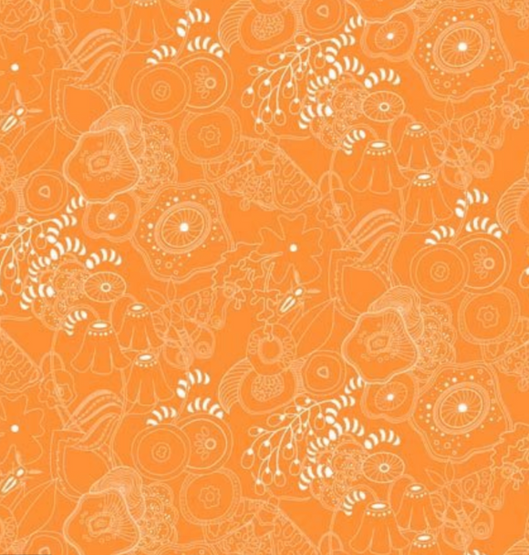 Grow in Tangerine from Sun Print 2016 by Alison Glass for Andover Fabrics