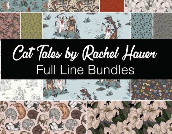 Fat Quarter, Half Yard, and Full Yard Bundles of Cat Tales by Rachel Hauer for Freespirit Fabrics