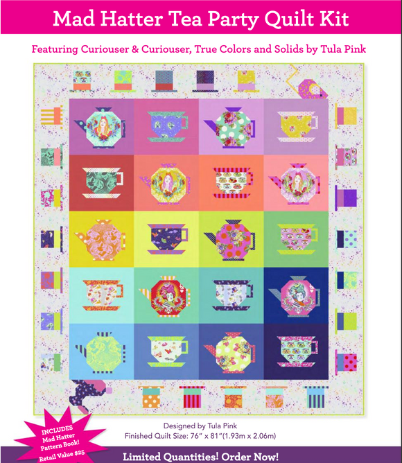 April Preorder/Deposit- Mad Hatter Tea Party Quilt Kit with Linework and True Colors by Tula Pink
