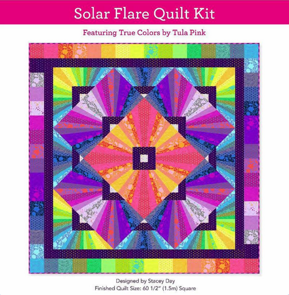 July 50% Preorder/Deposit: Solar Flare Quilt Kit featuring True Colors by Tula Pink